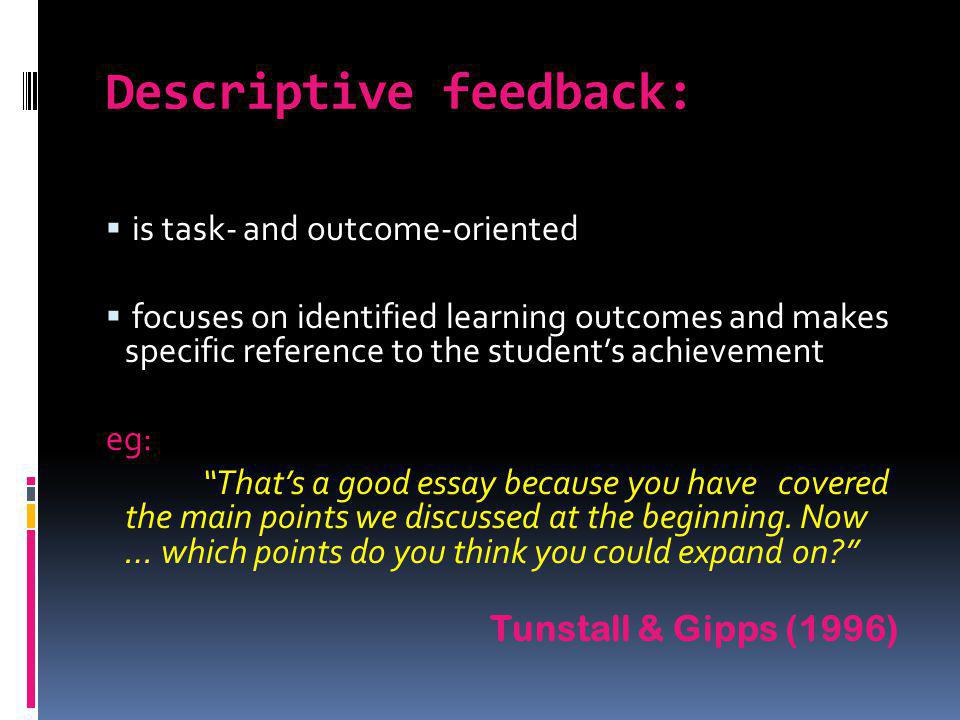 Descriptive feedback: