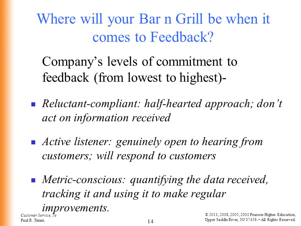 Where will your Bar n Grill be when it comes to Feedback