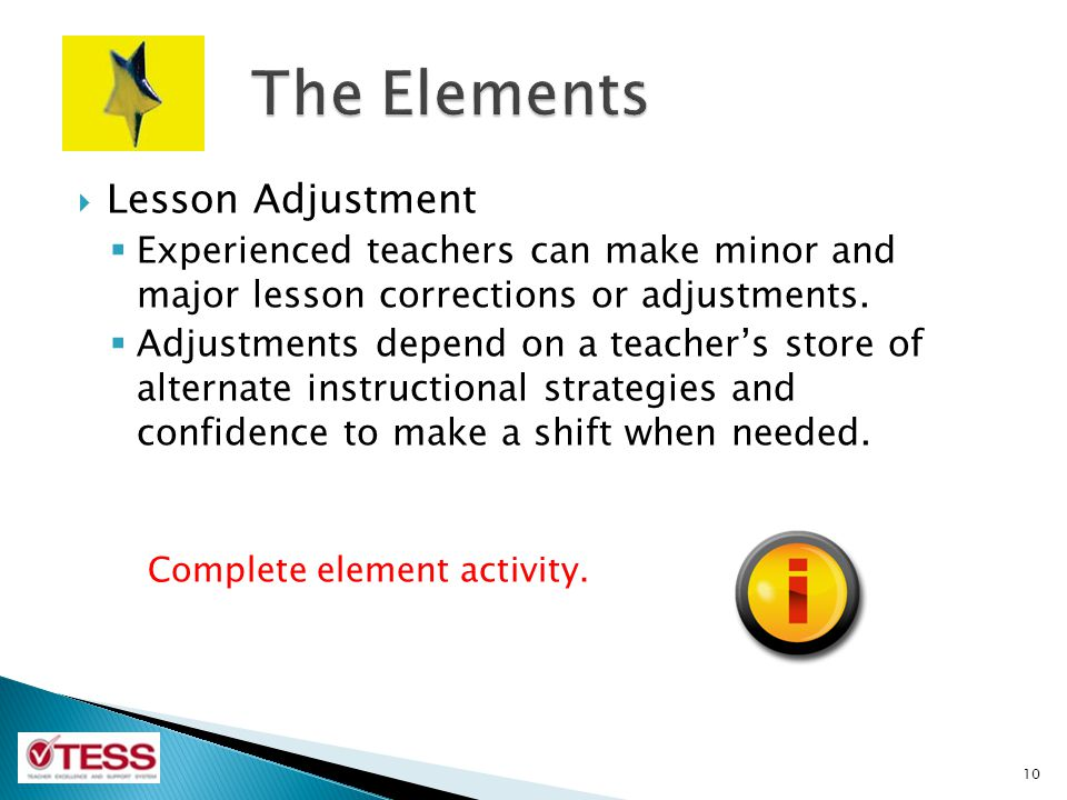 The Elements Lesson Adjustment