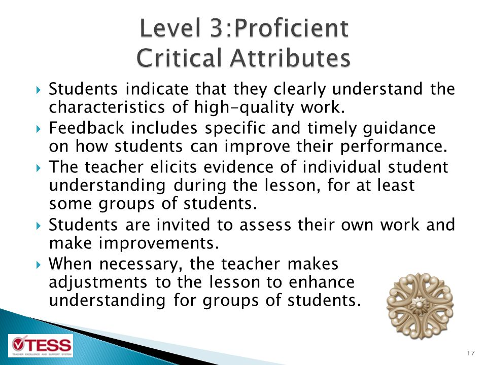 Level 3:Proficient Critical Attributes