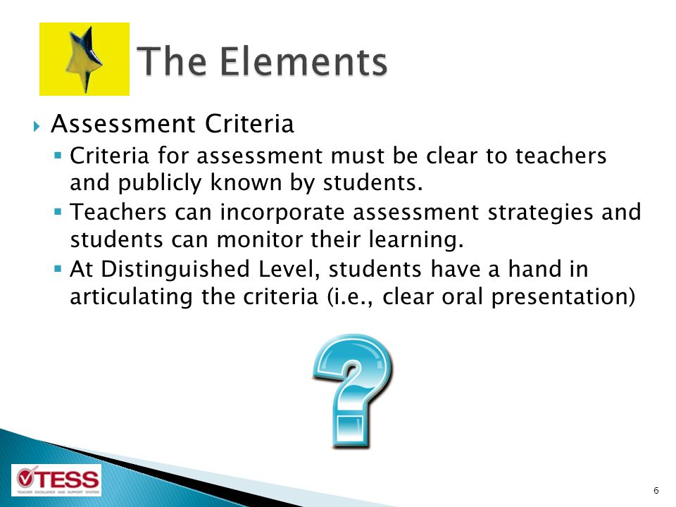 The Elements Assessment Criteria