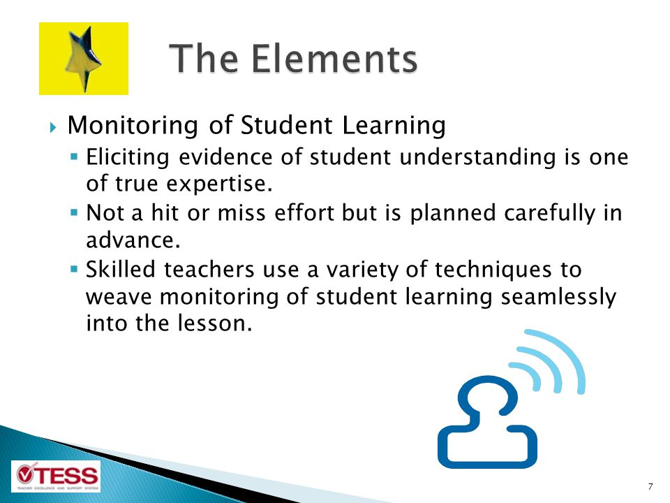 The Elements Monitoring of Student Learning