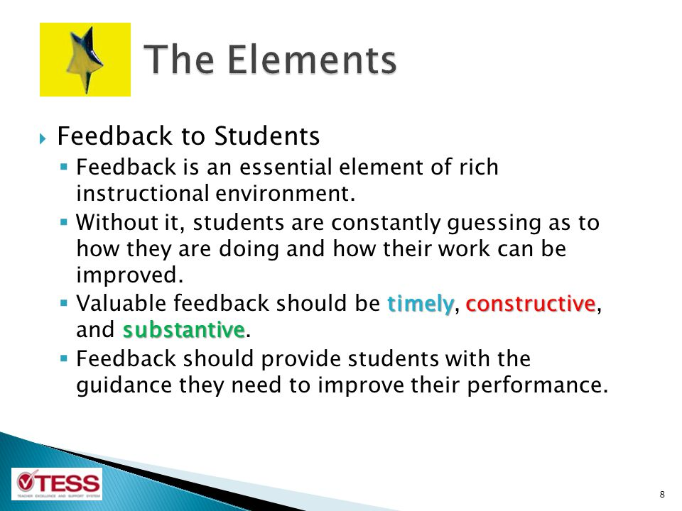 The Elements Feedback to Students