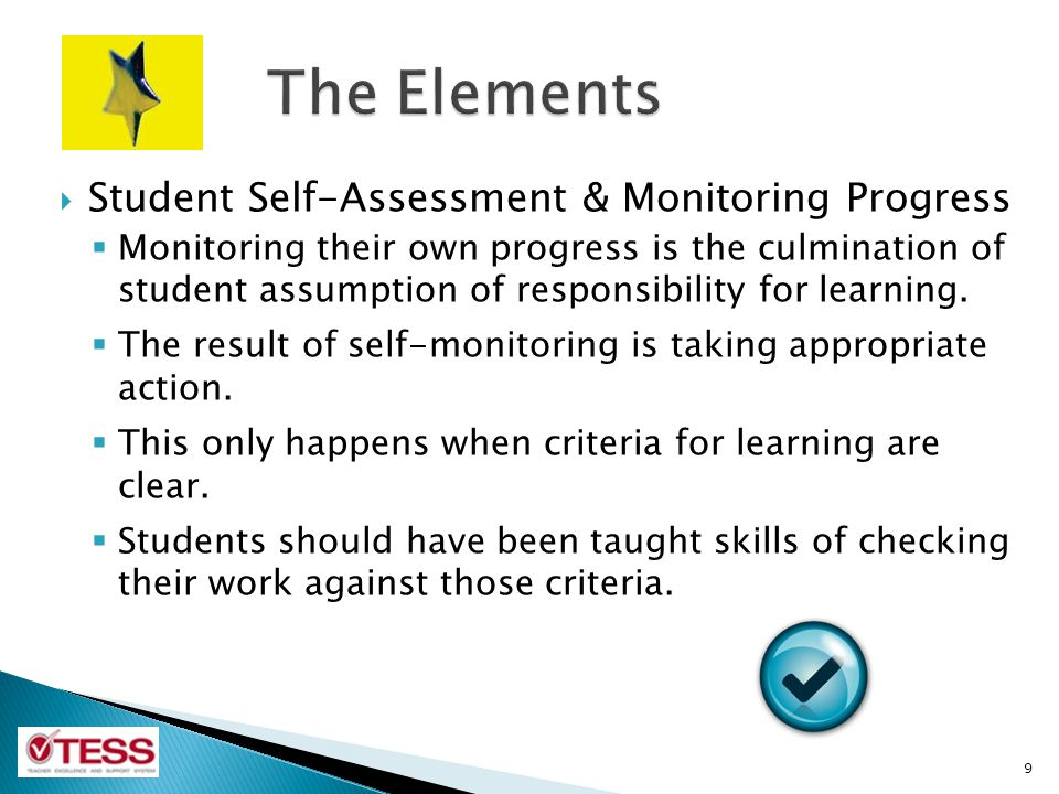 The Elements Student Self-Assessment & Monitoring Progress