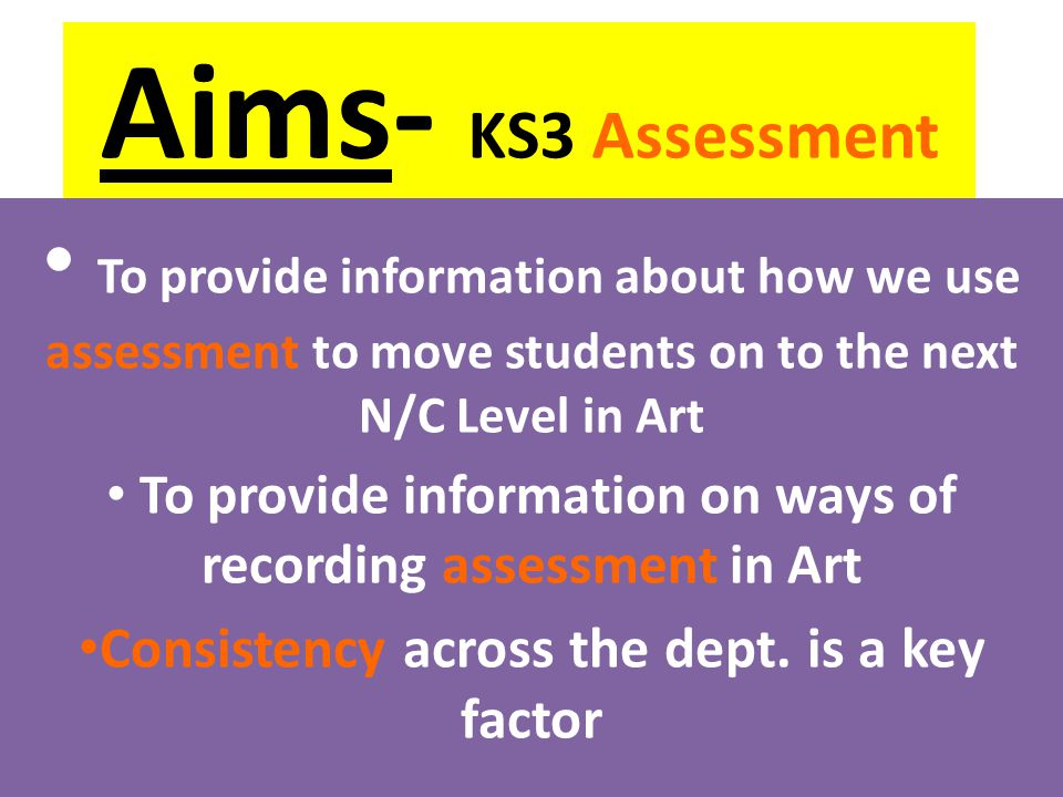 To provide information on ways of recording assessment in Art