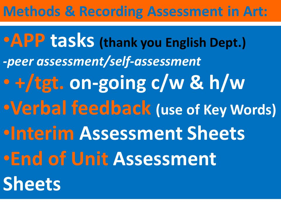 APP tasks (thank you English Dept.) +/tgt. on-going c/w & h/w