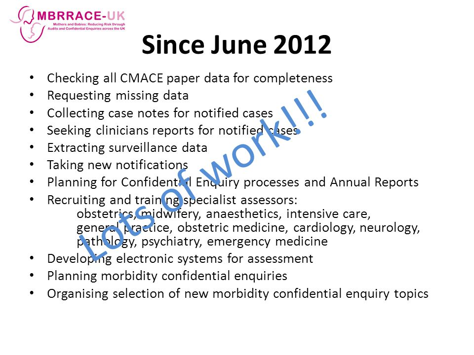 Since June 2012 Checking all CMACE paper data for completeness. Requesting missing data. Collecting case notes for notified cases.