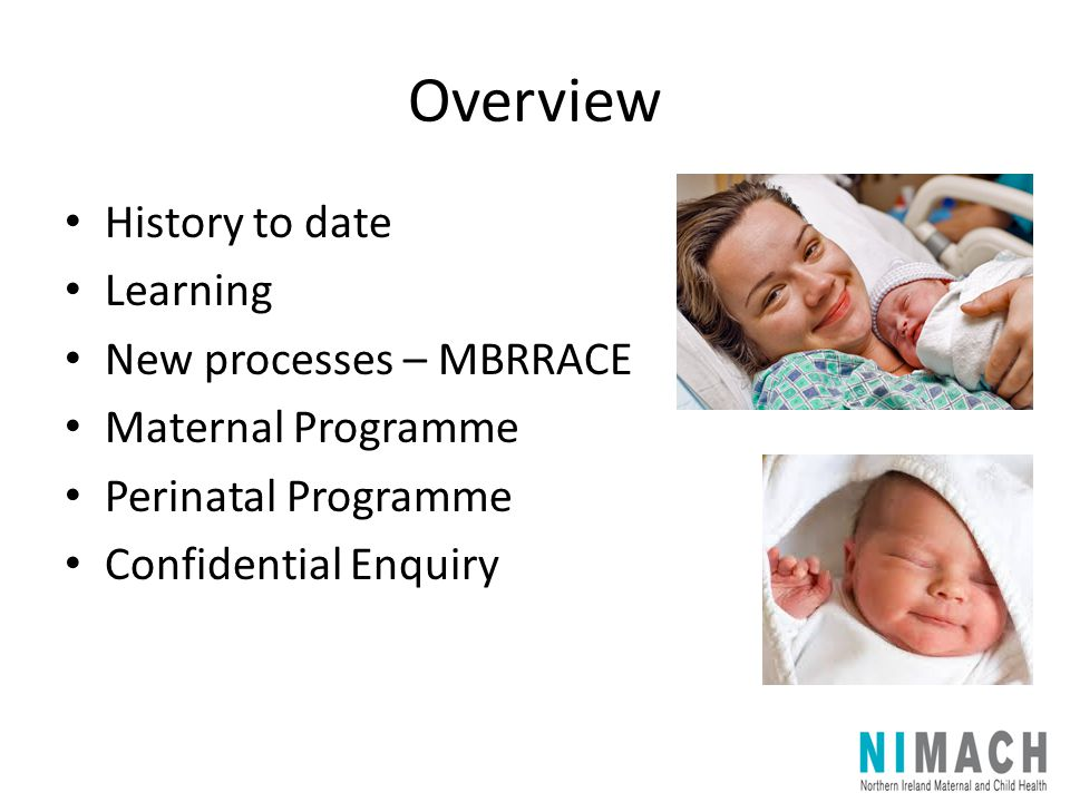 Overview History to date Learning New processes – MBRRACE