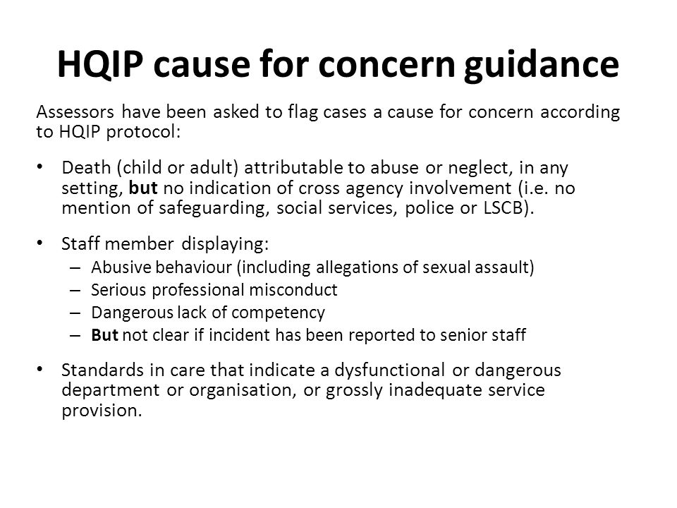 HQIP cause for concern guidance
