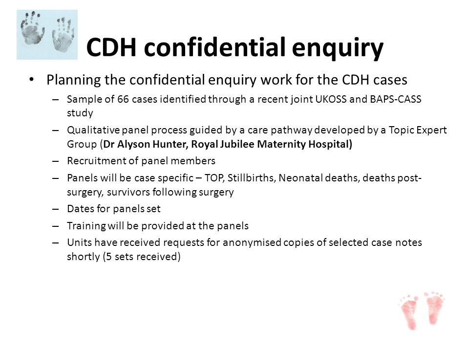 CDH confidential enquiry