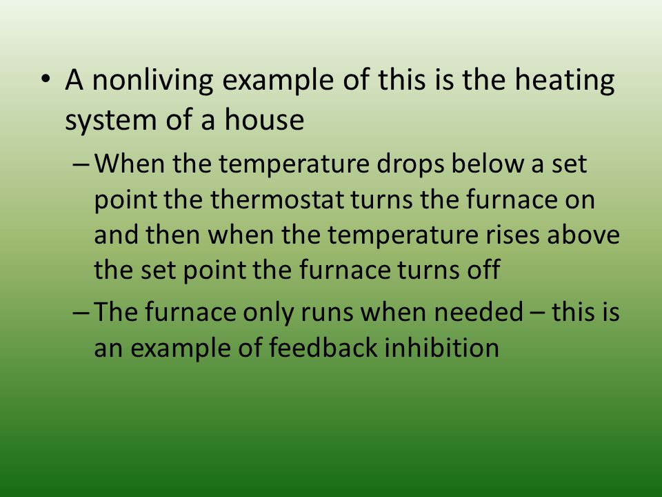 A nonliving example of this is the heating system of a house
