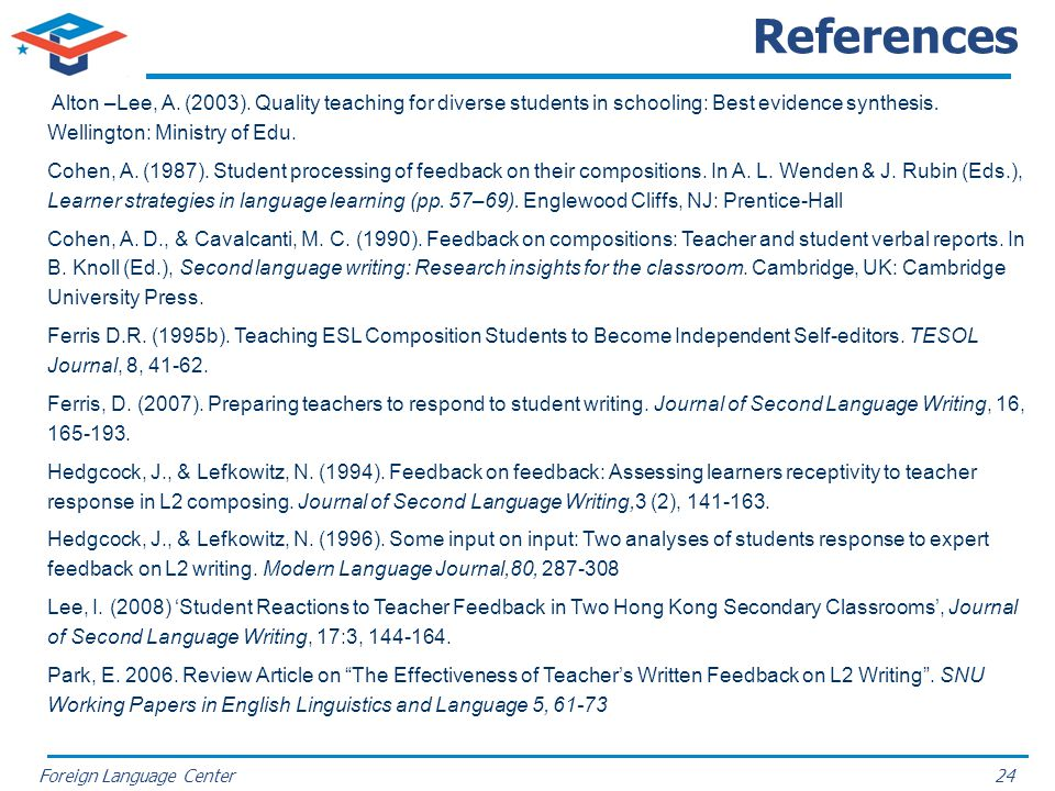 References Alton –Lee, A. (2003). Quality teaching for diverse students in schooling: Best evidence synthesis. Wellington: Ministry of Edu.