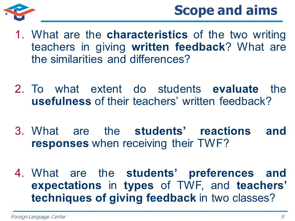 Scope and aims What are the characteristics of the two writing teachers in giving written feedback What are the similarities and differences
