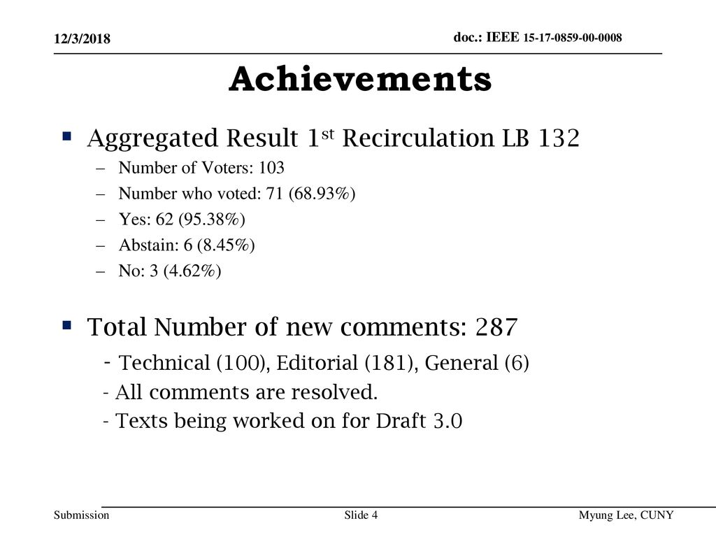 Achievements Aggregated Result 1st Recirculation LB 132