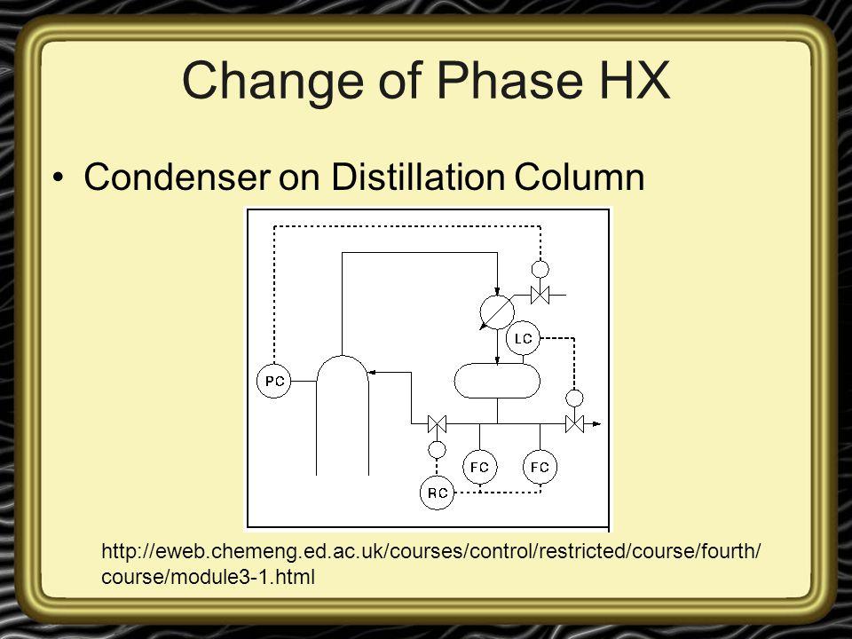Change of Phase HX Condenser on Distillation Column