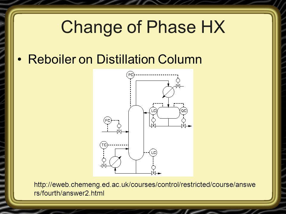 Change of Phase HX Reboiler on Distillation Column