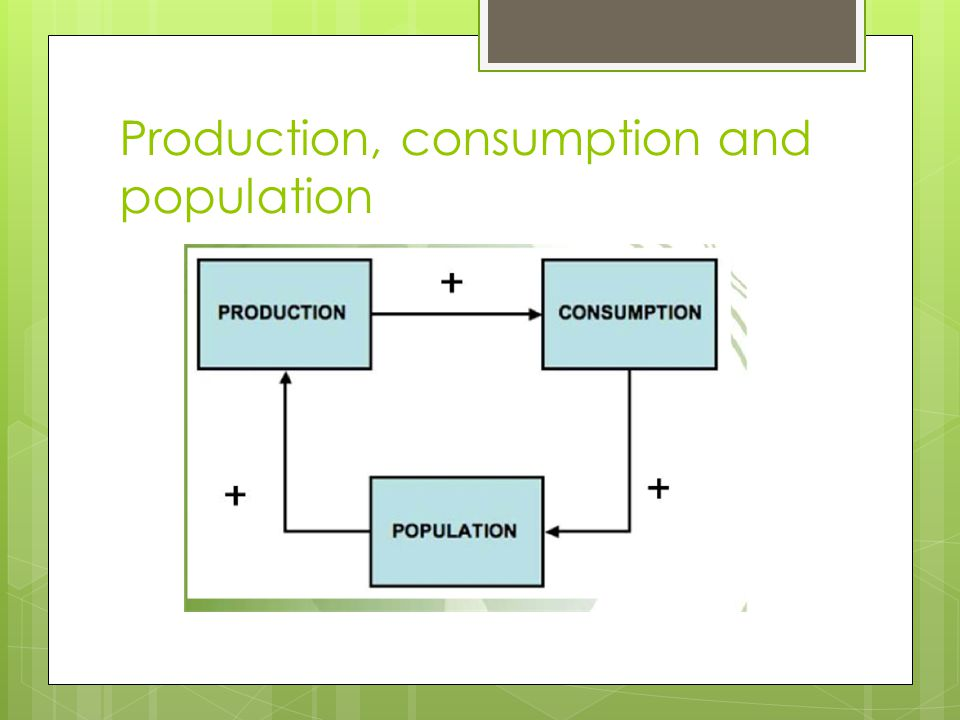 Production, consumption and population