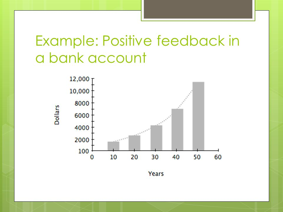 Example: Positive feedback in a bank account
