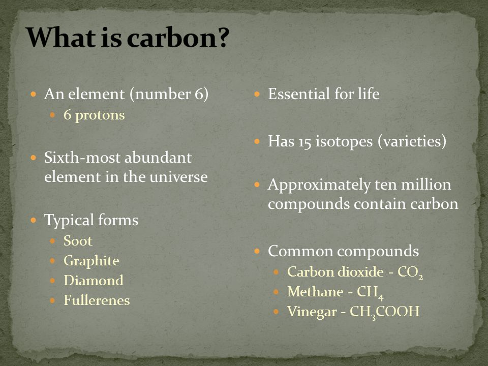 What is carbon An element (number 6)