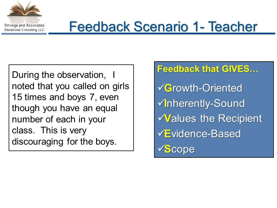Feedback Scenario 1- Teacher