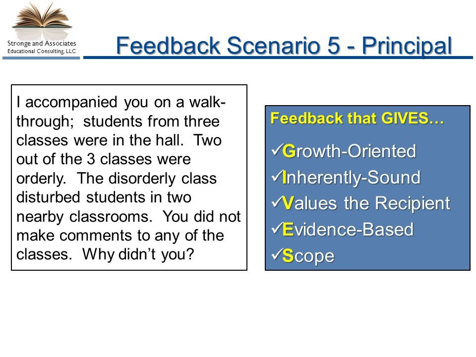 Feedback Scenario 5 - Principal