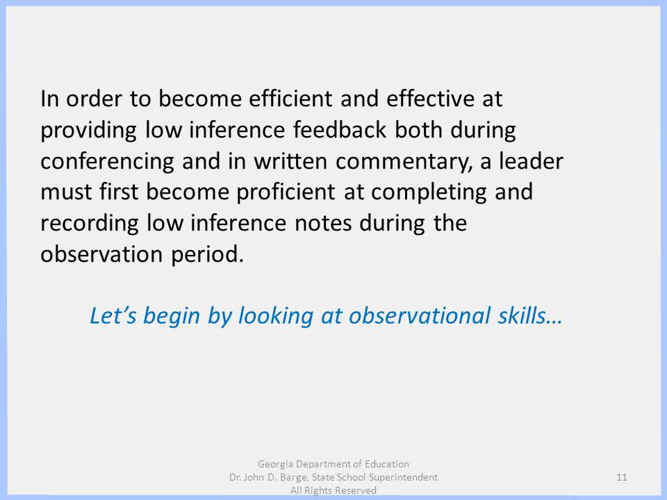Let's begin by looking at observational skills…