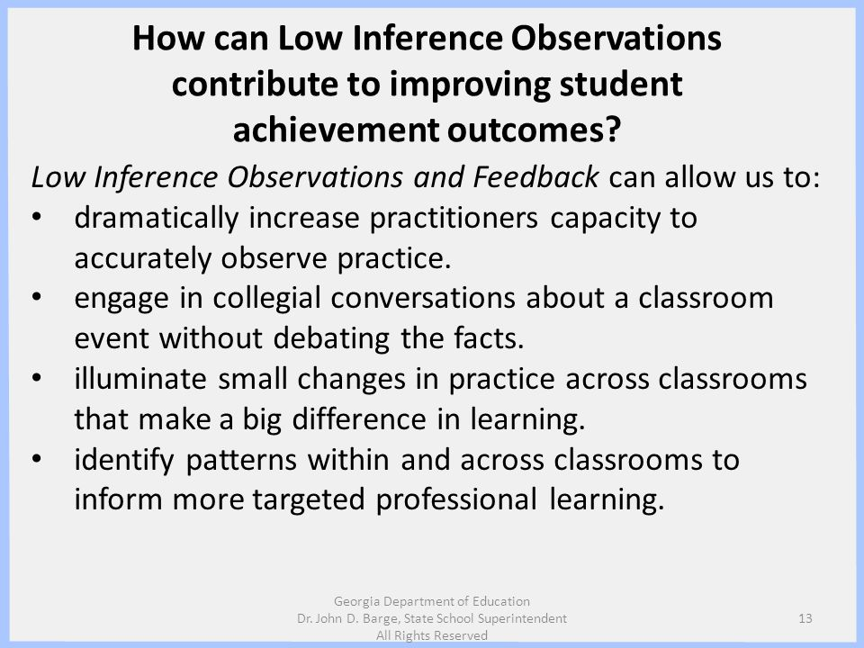 How can Low Inference Observations contribute to improving student achievement outcomes