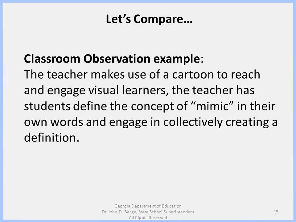 Classroom Observation example: