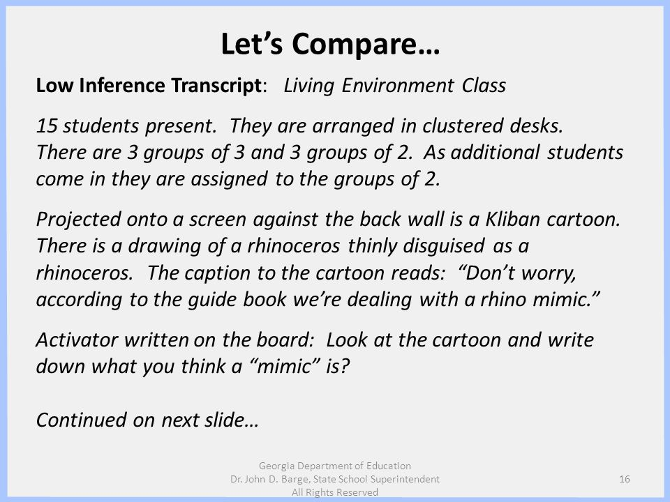 Let's Compare… Low Inference Transcript: Living Environment Class