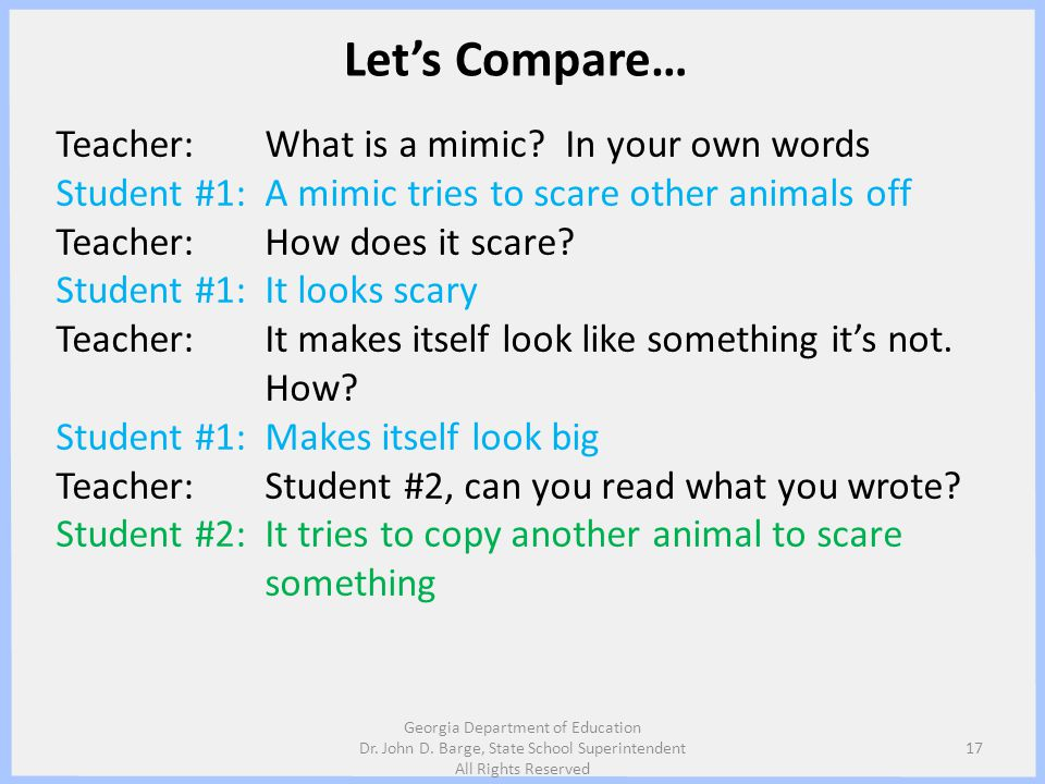 Let's Compare… Teacher: What is a mimic In your own words