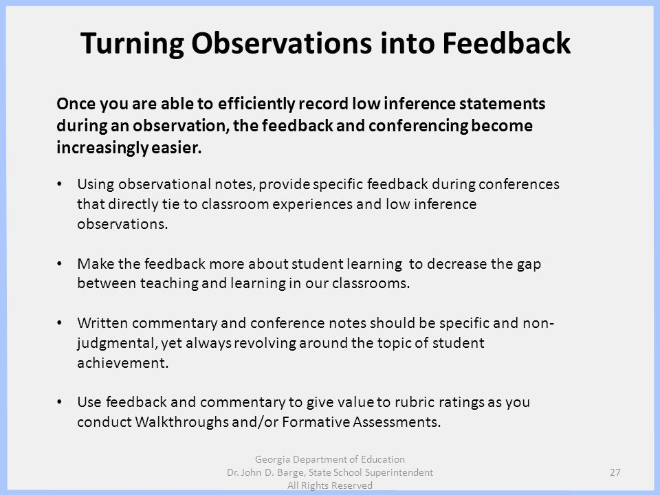 Turning Observations into Feedback