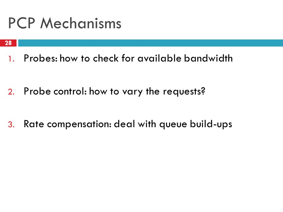 PCP Mechanisms Probes: how to check for available bandwidth