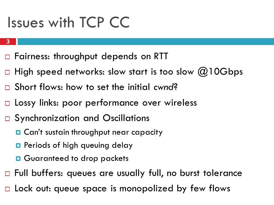 Issues with TCP CC Fairness: throughput depends on RTT