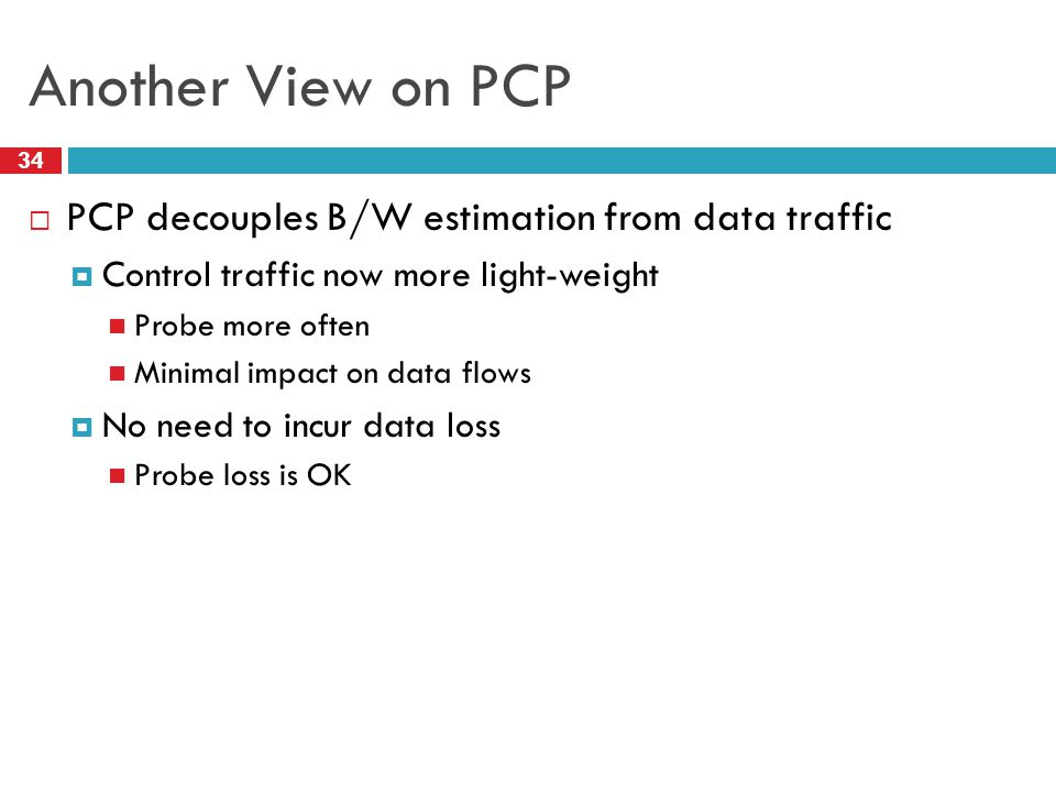 Another View on PCP PCP decouples B/W estimation from data traffic