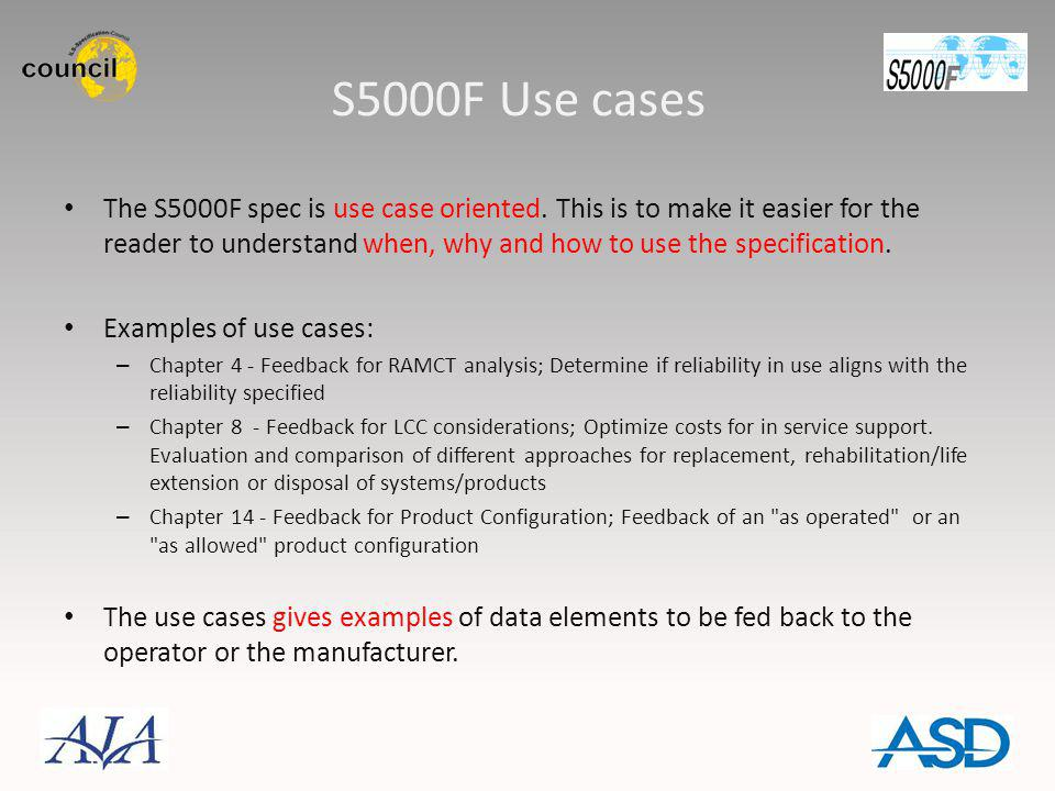 S5000F Use cases