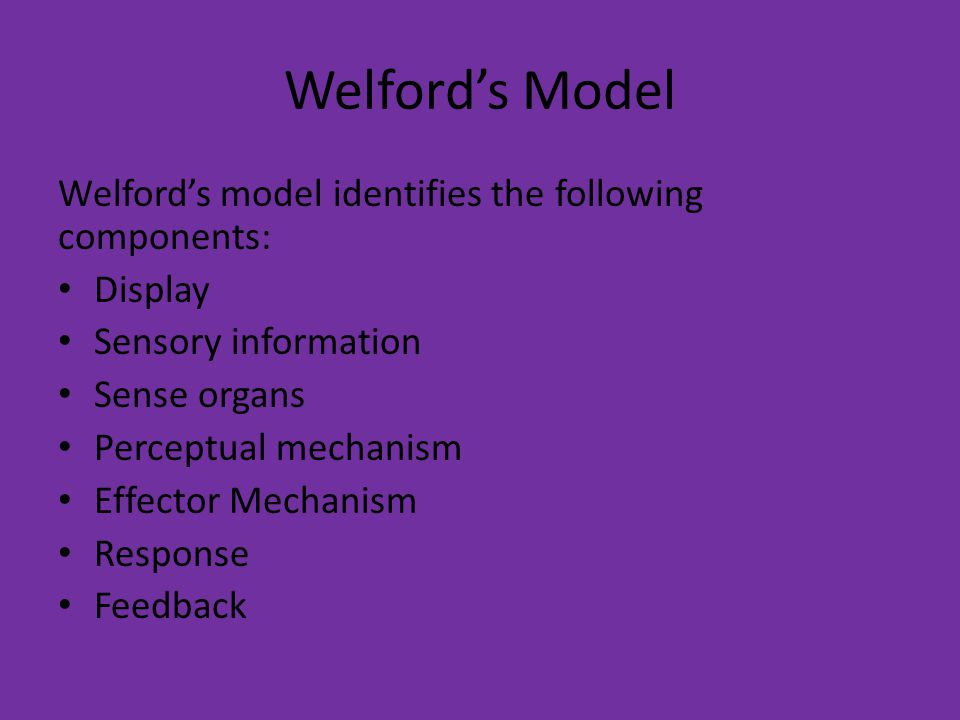 Welford's Model Welford's model identifies the following components:
