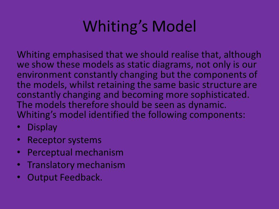 Whiting's Model