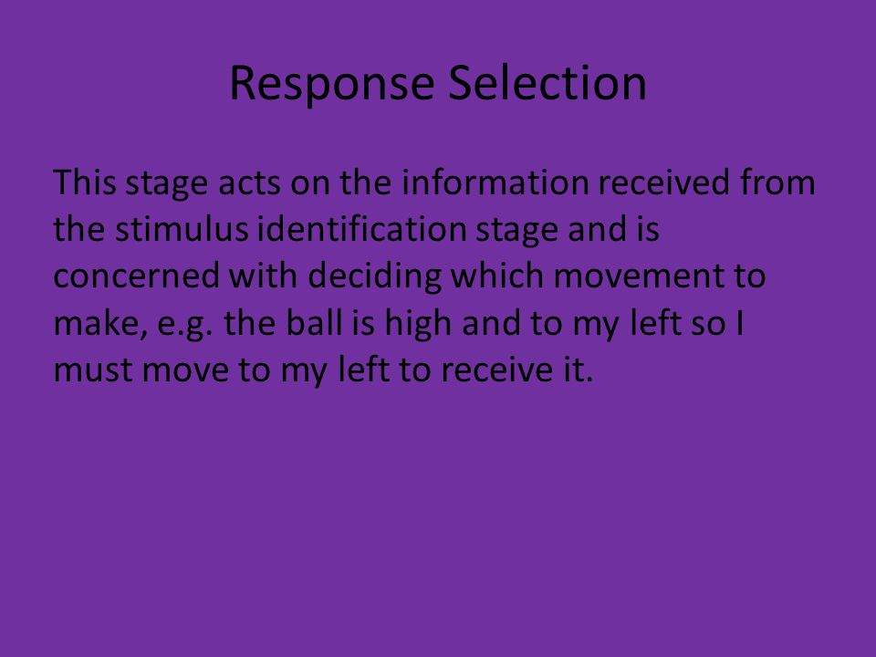 Response Selection