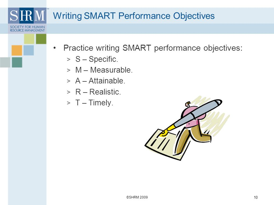 Writing SMART Performance Objectives