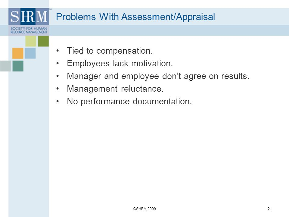 Problems With Assessment/Appraisal