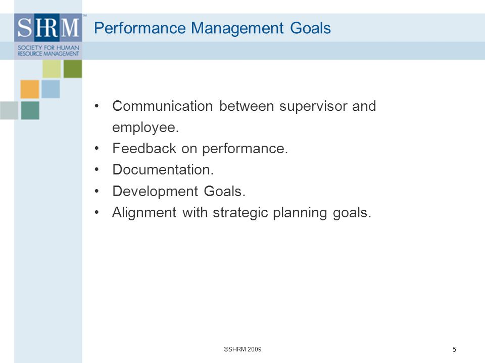 Performance Management Goals