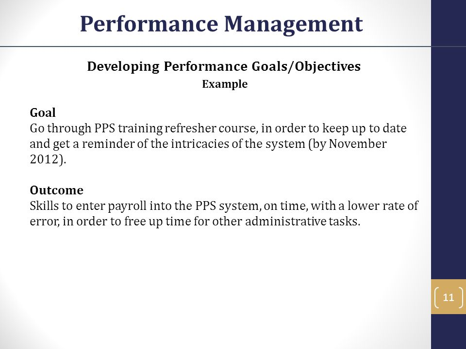 Performance Management Developing Performance Goals/Objectives