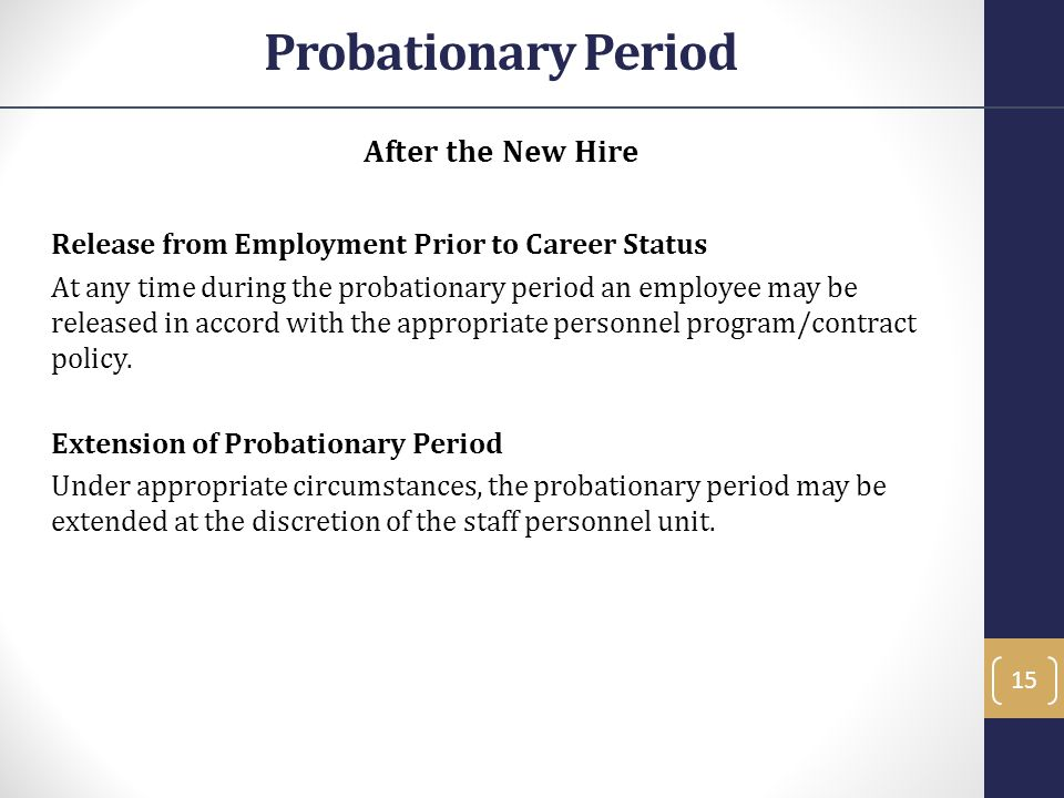 Probationary Period After the New Hire