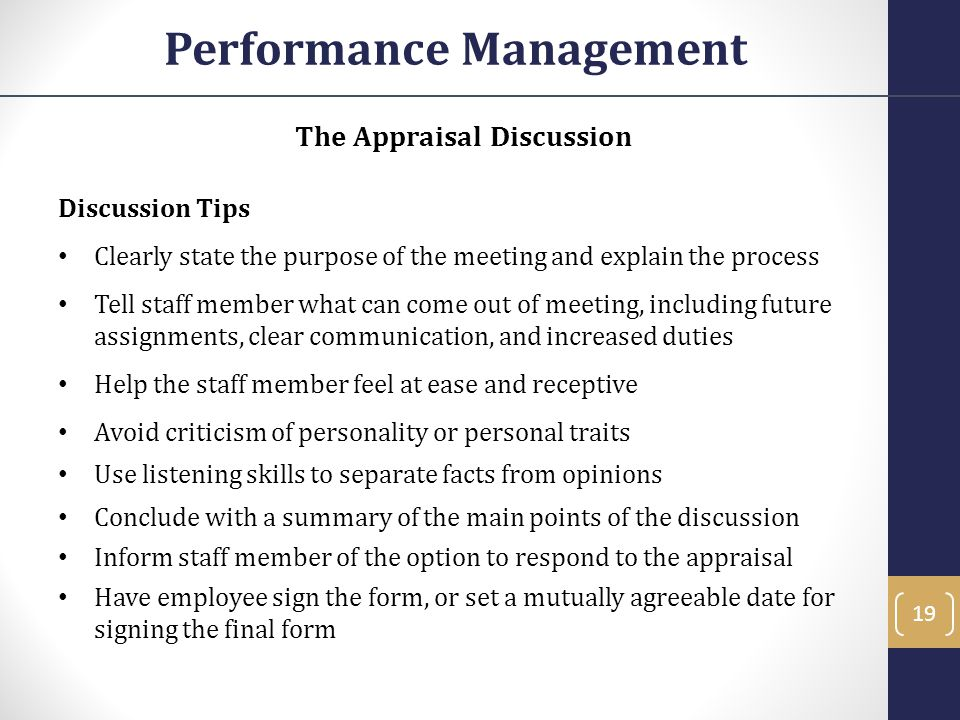 Performance Management The Appraisal Discussion