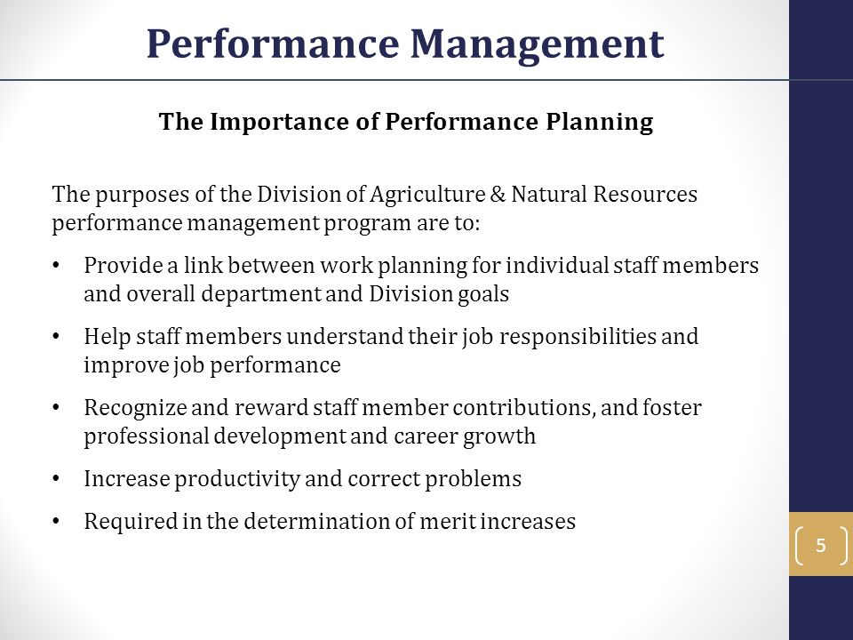 Performance Management The Importance of Performance Planning