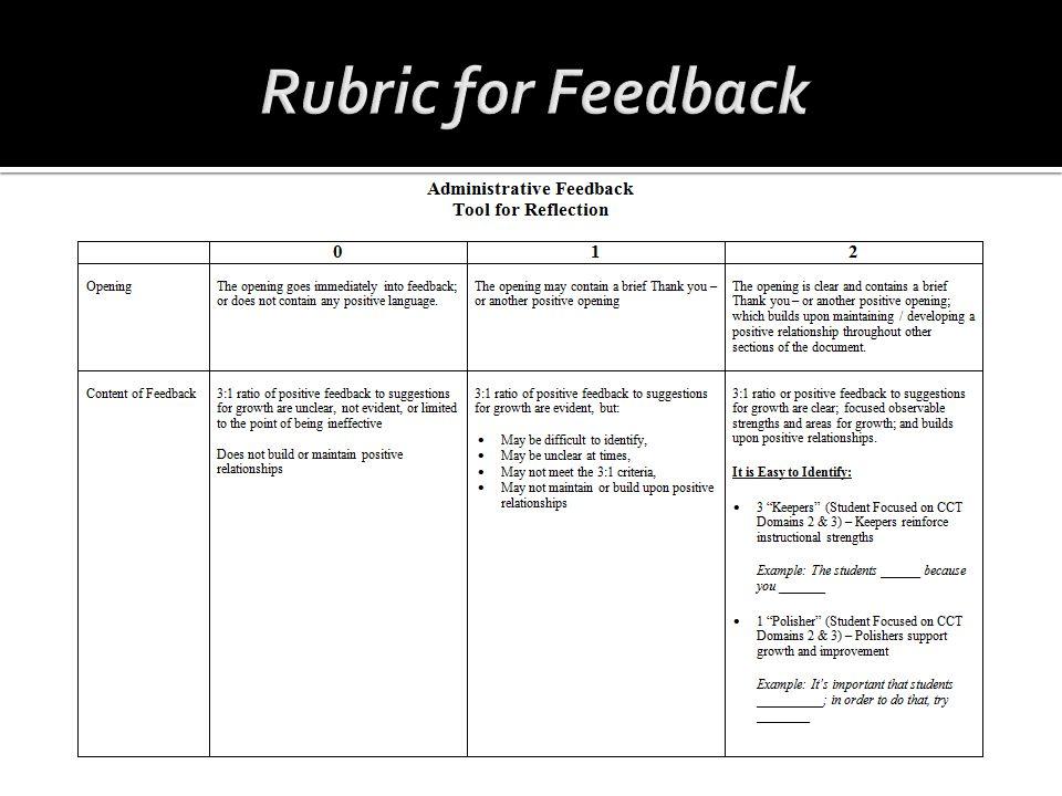 Rubric for Feedback
