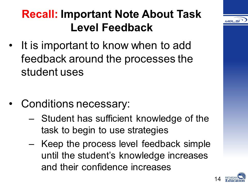 Recall: Important Note About Task