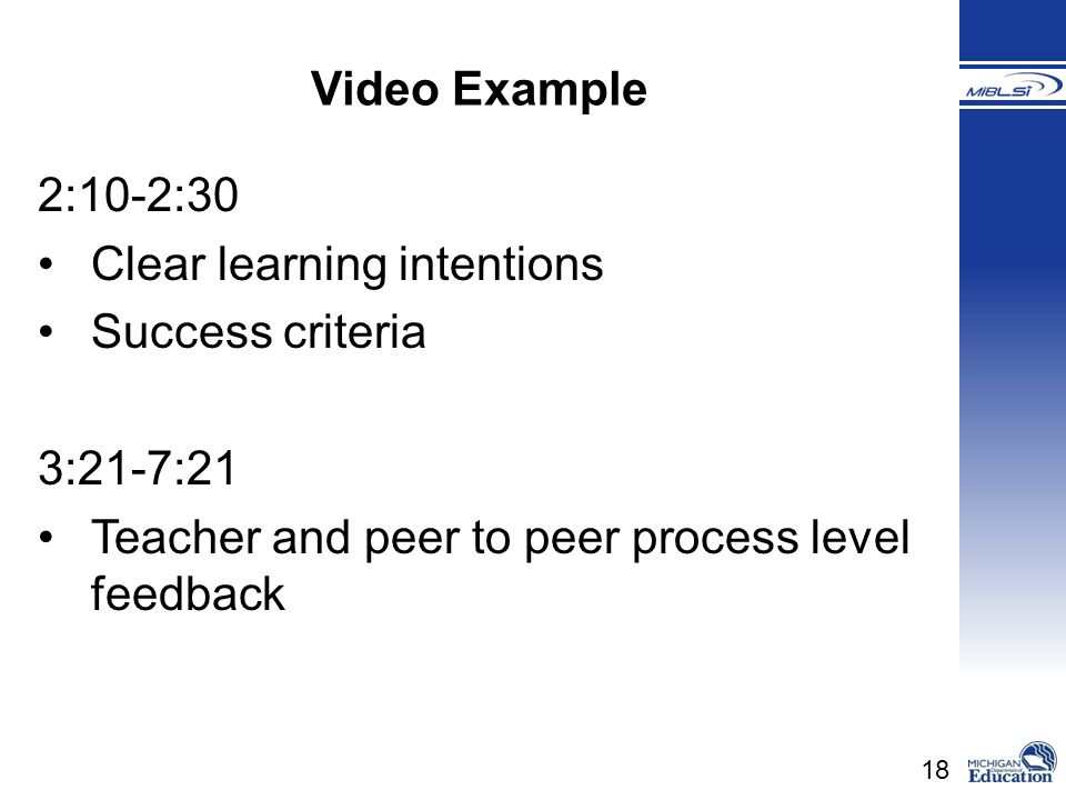 Video Example 2:10-2:30. Clear learning intentions.