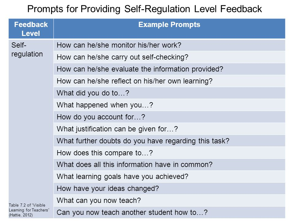 Prompts for Providing Self-Regulation Level Feedback