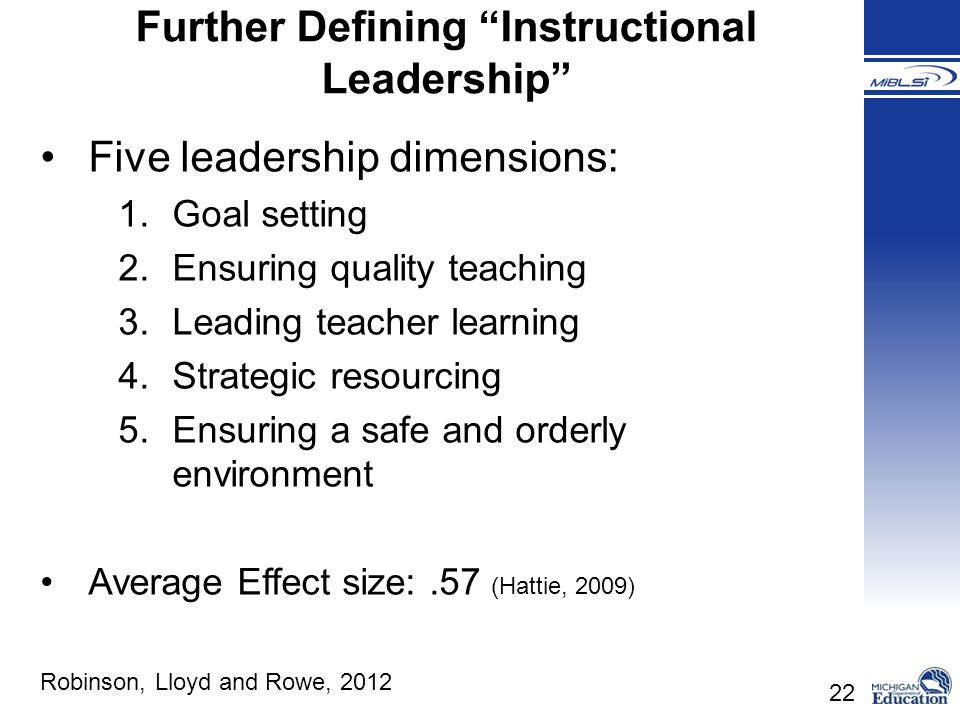 Further Defining Instructional Leadership